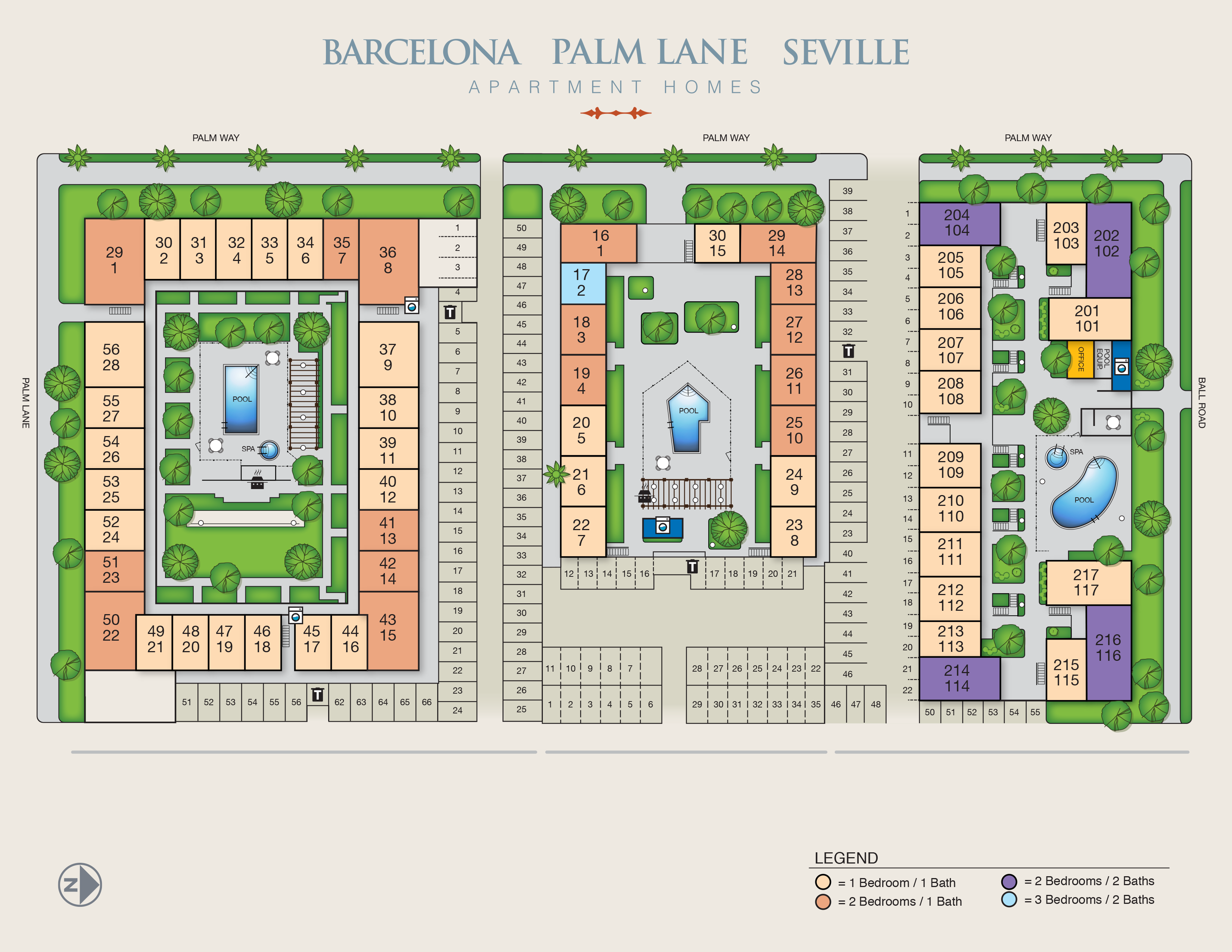 Barcelona, Palm Lane, Seville Apartment Homes site map